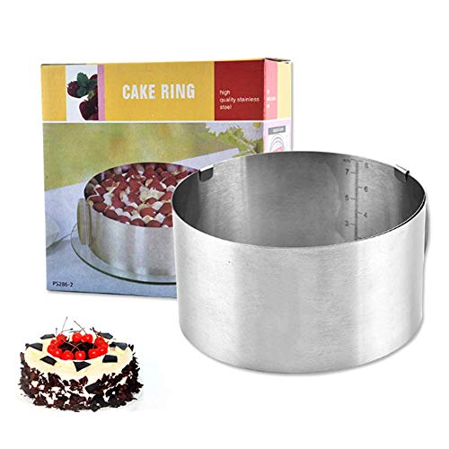 Voarge Verstellbare Runde Kreise Form Edelstahl Plätzchen Mousse Ring Form Home Zubehör, Tortenring mit verstellbarem Durchmesser von 16 bis 30 cm, Rostfreier Edelstahl, Silber