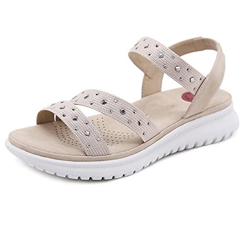 MIAOFA Zapatillas de Deporte con Pendiente de Verano para Mujer Sandalias Ligeras con Diamantes de imitación Zapatillas de Punta Abierta Simples de Moda