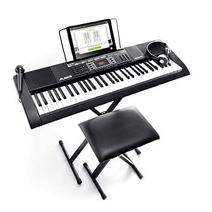 Alesis Melody 61 MKII – Teclado electrónico/Piano digital con 61 teclas, altavoces integrados, auriculares, micrófono, soporte para piano, atril y banqueta