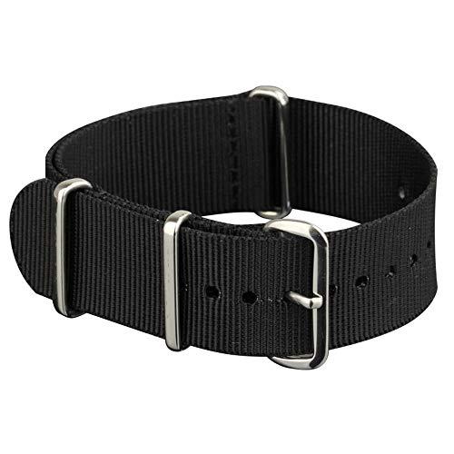 Infantry 20mm NATO Nylon Uhrenarmbänder Uhrband Uhrenband Armband Uhr Bänd Schwarz Natoband Dornschließe Ersatz-Watch Armband mit Edelstahl Metall Schließe für Herren