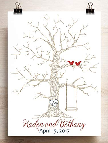 Wedding Guest Book Alternative Thumbprint Tree with Swing for Fingerprints on Canvas or Paper