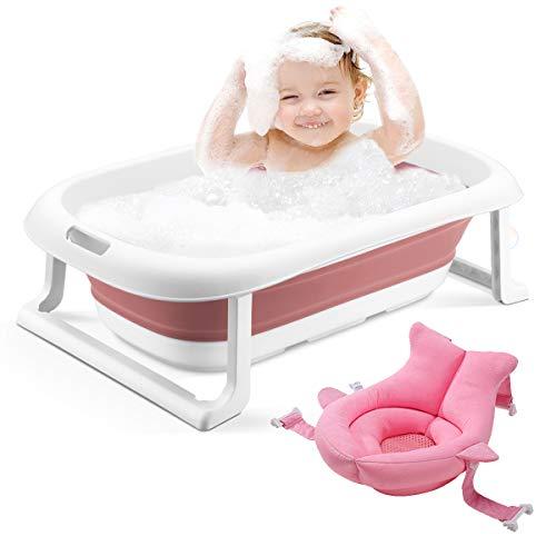 2-in-1 Babybadewanne Tragbare zusammenklappbare Badewanne für Kleinkinder Faltbare Duschwanne für Kinder Anti-Rutsch-rutschfest mit Babykissen und Wasserspülbecher für 0-5 Jahre (rosa Wanne + Kissen)