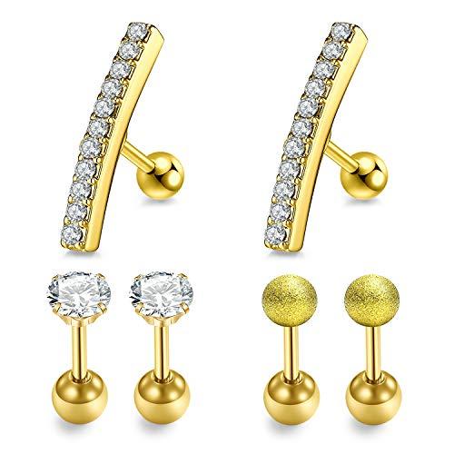 LAURITAMI 3 paar body oorstekers tragus helix piercing bars staaf stud 6mm 16G set chirurgisch staal goud CZ diamant piercing sieraden
