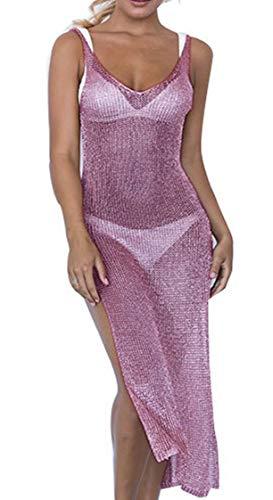 JFAN Donna Copricostume Mare Costume da Bagno Scollo a V Abito da Spiaggia Bikini Backless Cover Up Lavorato A Maglia Beachwear