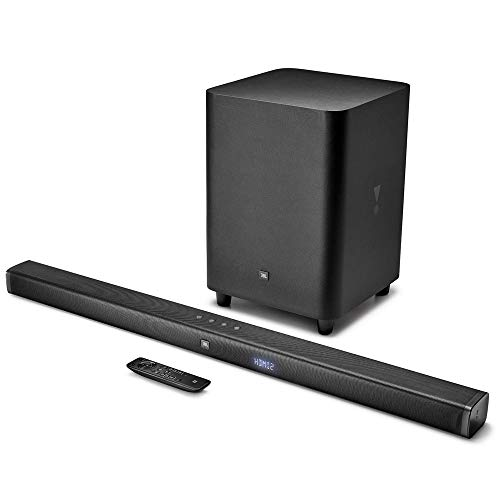 JBL BAR 3.1 Soundbar Bluetooth con Subwoofer Wireless per TV e PC, Telecomando, Surround Sound, Dolby Digital, HDMI, Connessione Ottica, Ultra HD 4K, 450 W, Nero
