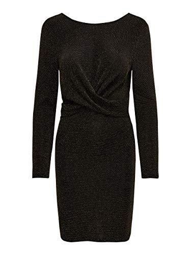 ONLY Damen ONLQUEEN L/S Glitter Twist Dress JRS Partykleid, Schwarz (Black Pattern: Gold Lurex), 40 (Herstellergröße: L)