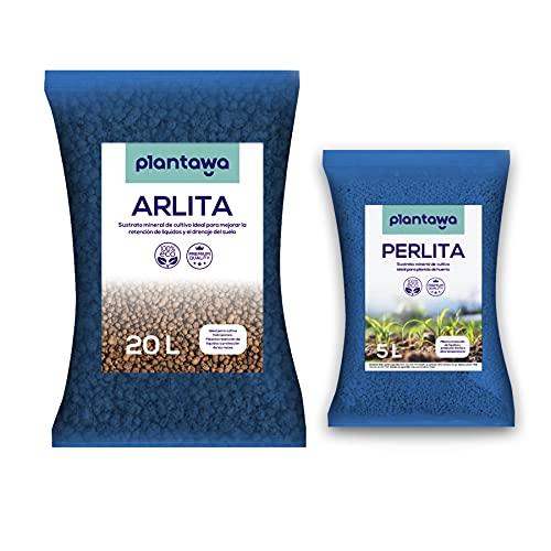 PLANTAWA Bolas Arcilla Expandida 20L + Sustrato Perlita 5L, Sustrato para Plantas,...