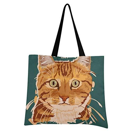 XIXIXIKO - Bolsa de lona ligera para pintura de gato de pelo corto con diseño de animales americanos, bolsa de hombro, resistente para mujeres, niñas, compras, gimnasio, playa, viajes diarios