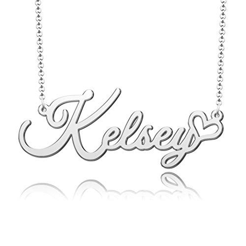 CoolJewelry Name Necklace Personalized Gift Card 925 Sterling Silver Custom Made Nameplate Initial Necklace Jewelry Christmas Xmas Gift for Girlfriend