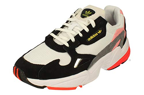 Adidas Falcon Mujeres Running Trainers Sneakers (UK 4.5 US 6 EU 37 1/3, White Black Pink FV8259)
