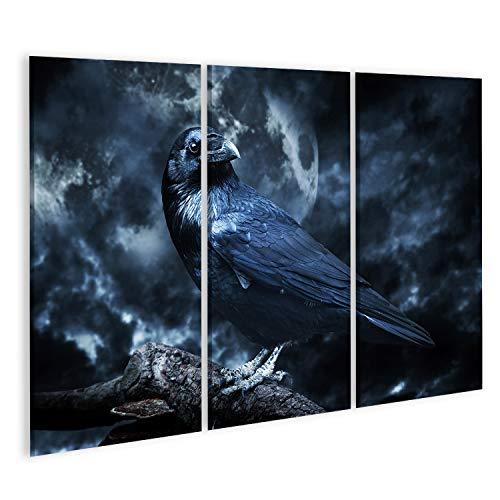 islandburner, Cuadro Cuadros Cuervo Negro a la luz de la Luna posado en un árbol. Espeluznante, Espeluznante, Ambiente gótico. Noche nublada con Luna Llena. víspera de Todos los Santos Impresión