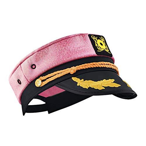 Captain Ford Captain-Hut, verstellbar, Neonfarben und Metallic, perfekt für Damen und Herren auf Partys - Pink - Einheitsgröße