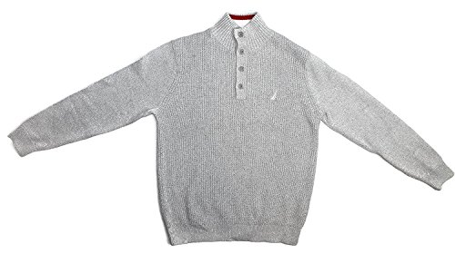 Nautica Men's Four Button Mock Neck Pullover Logo Sweater (M, Lt Grey/1SW)
