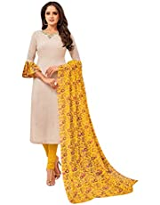 Rajnandini Women's chanderi silk Embroidered Semi-Stitched Salwar Suit Material With Printed Dupatta