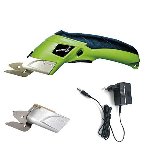 Tijeras de tela eléctrica Cortador de caja Cizallas inalámbricas Herramienta de corte para manualidades Costura Cartón Scrapbooking CS4001 (Verde) ESjasnyfall