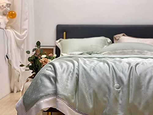 lanying Colcha Acolchada Cubrecama Aire Acondicionado Edredón Lavable Colcha de Verano Manta Delgada para sofá Cama para niños Adultos Reina Rey-Verde_200 * 230