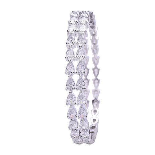 Ratnavali Jewels CZ Zirkonia Silber Ton Weiße Birne Diamant Indische Bollywood Armreifen Armband Schmuck Frauen