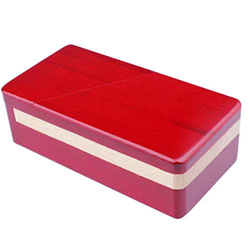 DC-BEAUTIFUL Impossible Box Puzzle Master Secret Opening Box Wooden Red Magic Box with Secret Drawer Mysterious Gift Box Puzzle