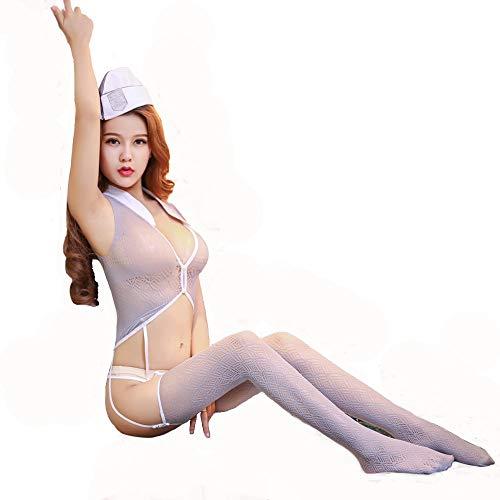 HJG Forplay Krankenschwesterkostüm aus sexy frechen Dessous, durchsichtige Netzoutfits Cosplay mit Krankenschwestermütze, sexy Arztkarnevalskostüm