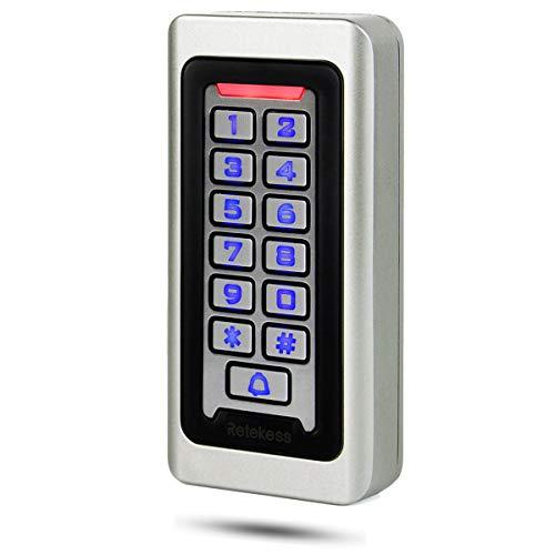 Retekess T-AC03 Control de Acceso Puerta, Teclado Acceso Impermeable IP68, Teclado Táctil Proximidad para RFID Sistema de Control de Acceso 125KHz Retroiluminación 2000 ID Wigan 26 Garaje Departamento