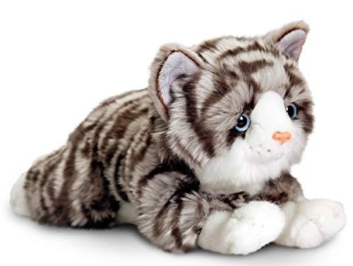 Lashuma Plüschtier Katze Kayla, Stofftier Grau Getigert, Kuscheltier liegend 25 cm
