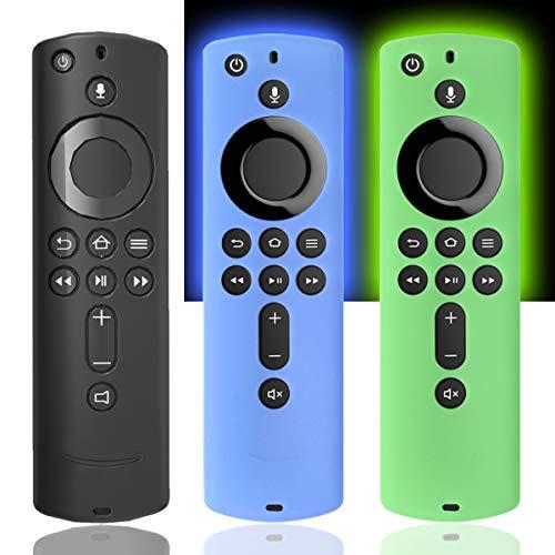 Silikon-Schutzhülle für TV Firestick 4K/TV (3. Gen), kompatibel mit der Fernbedienung der 2. Generation, Schwarz/GlowBlue/GlowGreen