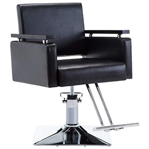 mewmewcat Silla de Peluquería Sillón Peluquería con un Pedal Reposapiés Negra 60,5 x 85 x (78-87) cm