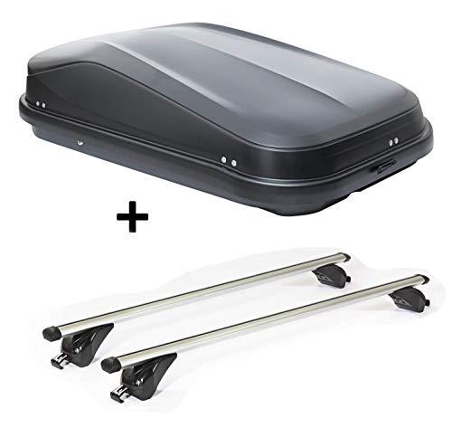 VDP Dachbox JUEASY320 320Ltr schwarz glänzend abschließbar + Dachträger/Relingträger KING1 kompatibel mit Hyundai ix35 (5 Türer) 10-15
