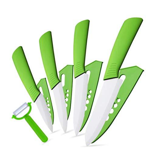 Xiao Jian Couteau Couteaux en céramique Couteaux de Cuisine 3 4 5 Couteau Chef 6 Pouces Faire Cuire Set éplucheur Lame zircone Blanc poignée Multi-Couleurs (Size : Vert)