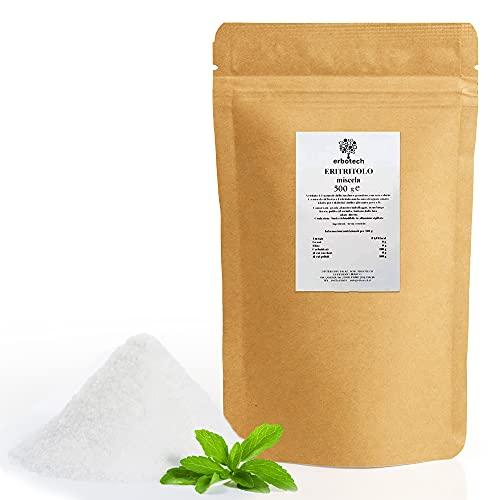 ERBOTECH Eritritolo in Polvere Busta da 500 g, Sostituto Naturale dello Zucchero con Zero Calorie, Adatto per Diabetici, Vegan, Made in Italy, Senza Conservanti e Coloranti