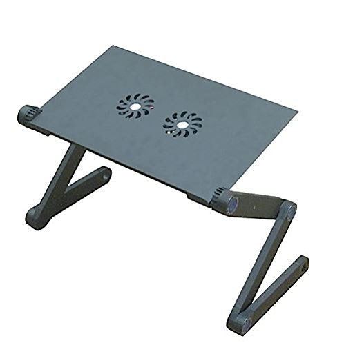 Aluminium Alloy Folding Laptop Desk/Stand/Table - Adjustable Height & Positions - Vented with CPU Fans - Mounted Mouse Pad - Black. by Mega Stationers