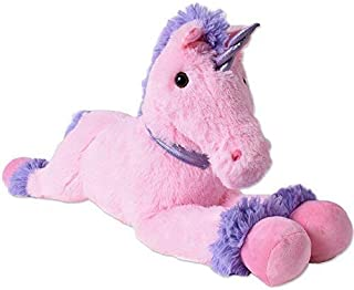 TE-Trend XXL Unicornio Peluche Animal de Felpa Caballo Peluche Tumbado 80cm Rosa Púrpura Cuerno de Collar Cola