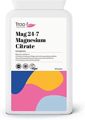 Troo Magnesium Citrate 120 Capsules (500mg) - (Mag24-7) - Highly Absorbable Daily Supplement - Manufactured in the UK and Vegan Friendly - New Easy Swallow Capsule