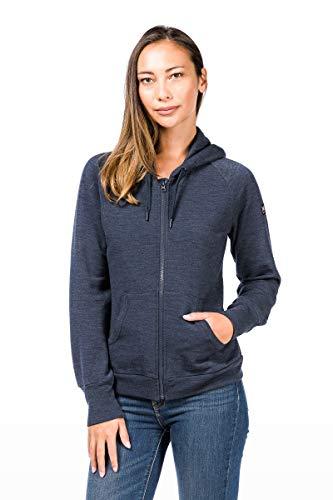 super.natural Warme Damen Fleece-Jacke, Mit Merinowolle, W COMFORT HOODIE, Größe: L, Farbe: Dunkelblau
