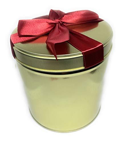 Perfekto24 Aufbewahrungs- Metalldose - Teedose 'Red Ribbon Gold' mit Deckel, Metall Dose 12 x 12 cm groß, rund, leer, Gold, Aufbewahrungsbox, Blechdose, Vorratsdose universell einsetzbar