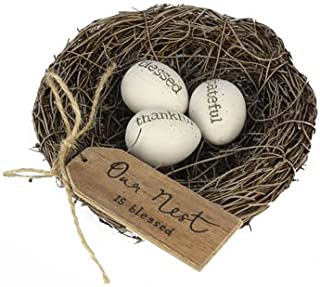 """Firstofakind Artificial Birds Nest with Resin Eggs - 4.25"""" Bird Decor Nest with Tag (Our Nest is Blessed) Easter Decor Bir..."""