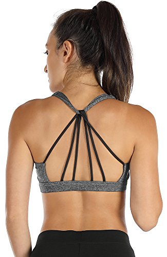 icyzone Padded Strappy Sports Bra Yoga Tops Activewear Workout Clothes