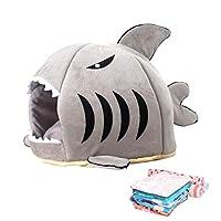 ねこハウス ドーム型 猫用 小型犬 小動物用ベッド 通年利用 ペットハウス サメ型 可愛い ペットベッド マット クッション ふわふわ 柔らかい 取り外し可能 洗える 滑り止め 湿気遮断 おしゃれ インテリア