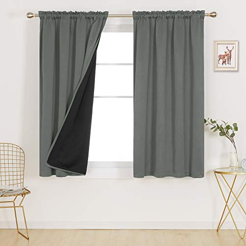 Deconovo 100% Blackout Curtains Thermal Insulated Soundproof Curtains with Double Layer Total Sunlight Blocking 52 Width Window Curtain Indoor Out Door Curtains, 2 Panels, Each 52x45 in, Dark Grey