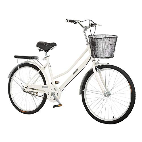 Bicicleta, Bicicleta de Viaje de Moda Retro, Bicicleta de Ocio de una Sola Velocidad de 26 Pulgadas, Marco de Bajo Alcance, Asiento Ajustable, para Adultos/Adolescentes/B/Como se mues