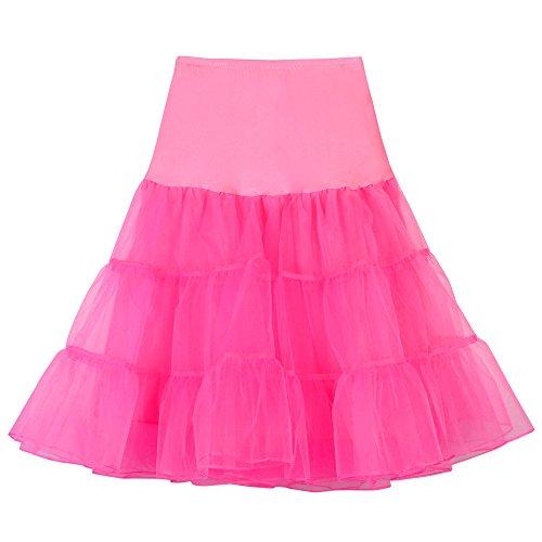 YWLINK Damen 50er Jahre Petticoat Vintage Retro Reifrock Petticoat Rockabilly Kleid In Mehreren Farben Karneval Party Rock TüLlrock
