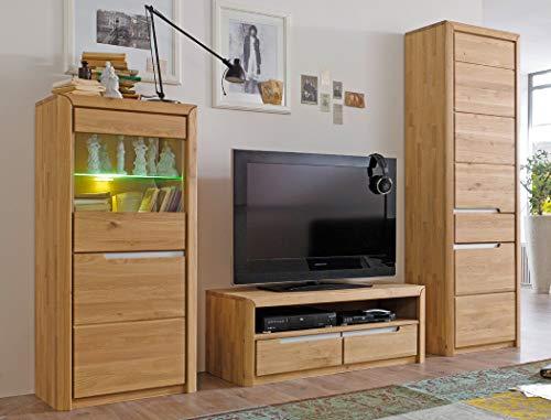 Wohnwand Pisa 25 Eiche Bianco massiv 3-teilig Medienwand TV-Wand Wohnzimmer TV-Möbel
