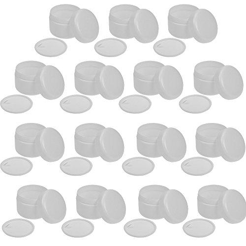 Leere Dose 50ml, weiße Kosmetex Kosmetikdose, Kunststoffdose, Cremedose mit Abdeckscheibe, 15 Stück
