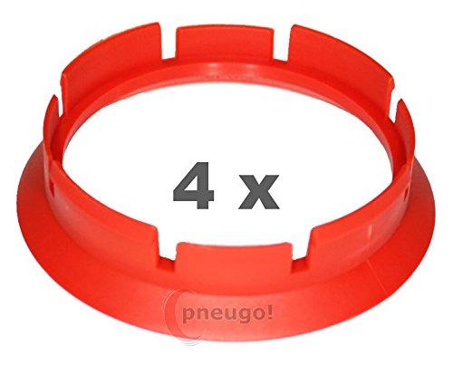 4 x Zentrierringe, Kunststoff 63.4mm auf 57.1mm rot