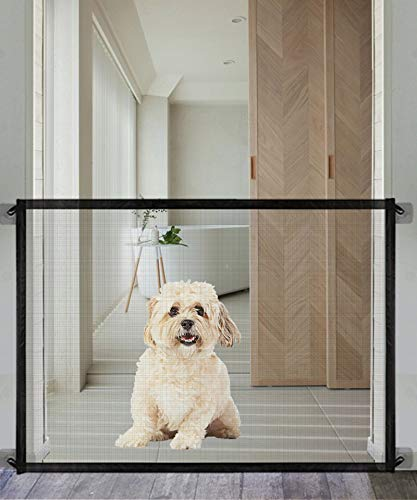 Queenii Magic Gate for Dogs Pet Safety Gate, Mesh Dog Gate Portable Folding Safe Guard Install Anywhere, Safety Fence for Hall Doorway-No Smell-39.8' -Black