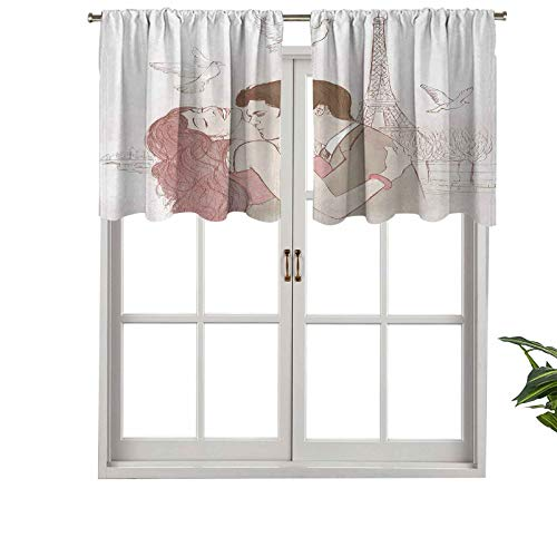 Hiiiman Blackout Curtain Valances, Short Rod Pocket Curtain Panels Romantic Man Woman in Front of Eiffel Tower, Set of 2, 42'x24' for Kitchen Bathroom