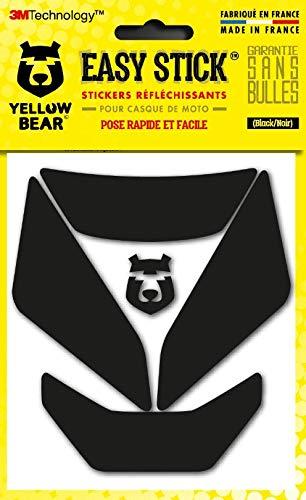 Yellow Bear© Easy Iron - Juego de 5 pegatinas reflectantes para casco de moto, 3MTM, tecnología 3MTM, color negro