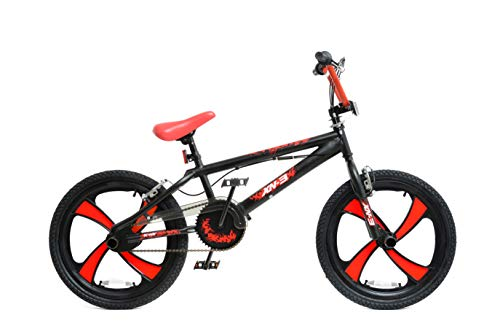XN BMX - 4 radios MAG para bicicleta de estilo libre, para niños y niñas, negro /rojo