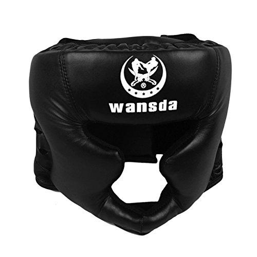 Beetest® Cuoio Imbottito Boxing Copricapo Casco Kick Boxing Pretection Gear per Sparring Muay Thai Libera Fight Taekwondo
