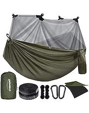 Overmont Dubbele Lagen Camping Hangmat Duitse TUV Gediplomeerde Draagbare Outdoor Hangmat Lichtgewicht voor Backpacken Wandelen Sport Reizen met Boomriemen Max Load van 400 KG